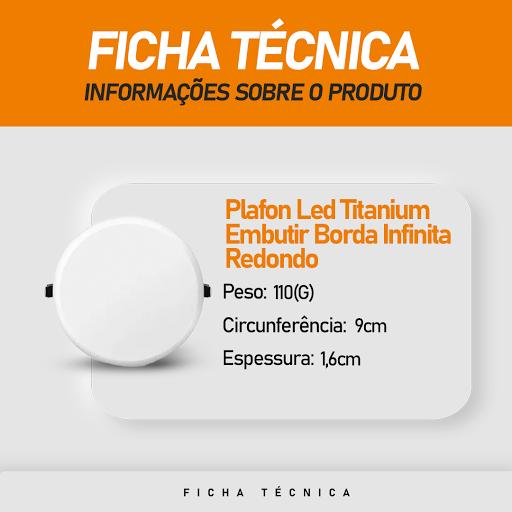 Plafon Led Titanium de Embutir Borda Infinita 12W Redondo