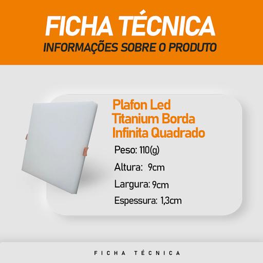 Plafon Led Titanium Embutir Borda Infinita 12W Quadrado