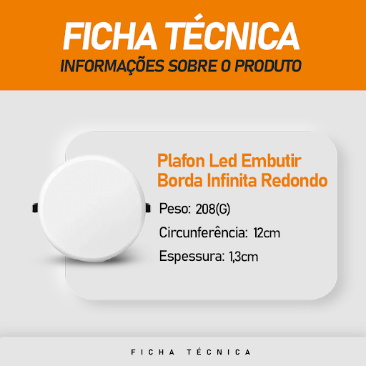 Plafon Led Titanium Embutir Borda Infinita 18W Redondo