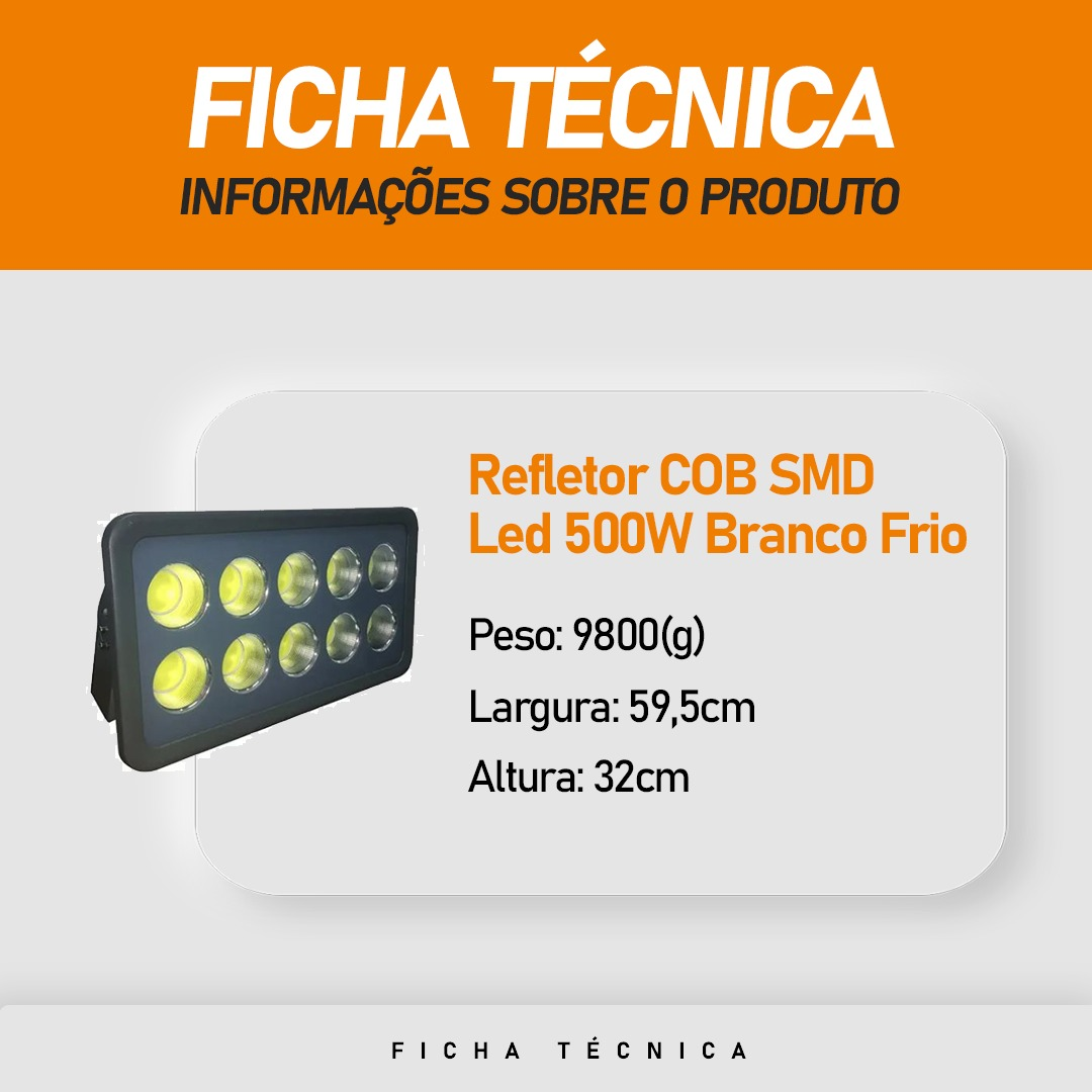 Refletor Cob Led 500W Branco Frio IP66