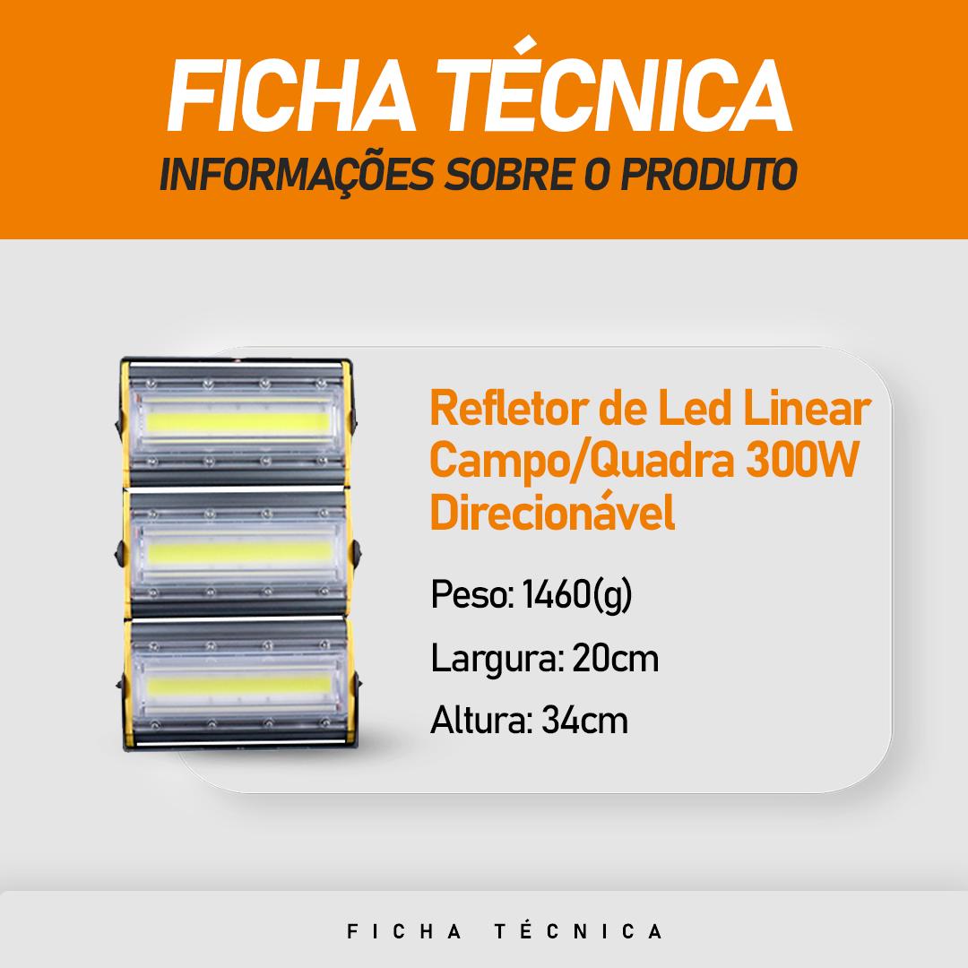 Refletor de Led Linear para Campo | Quadra 300W IP68 Flood Light - Direcionável Modelo 2021
