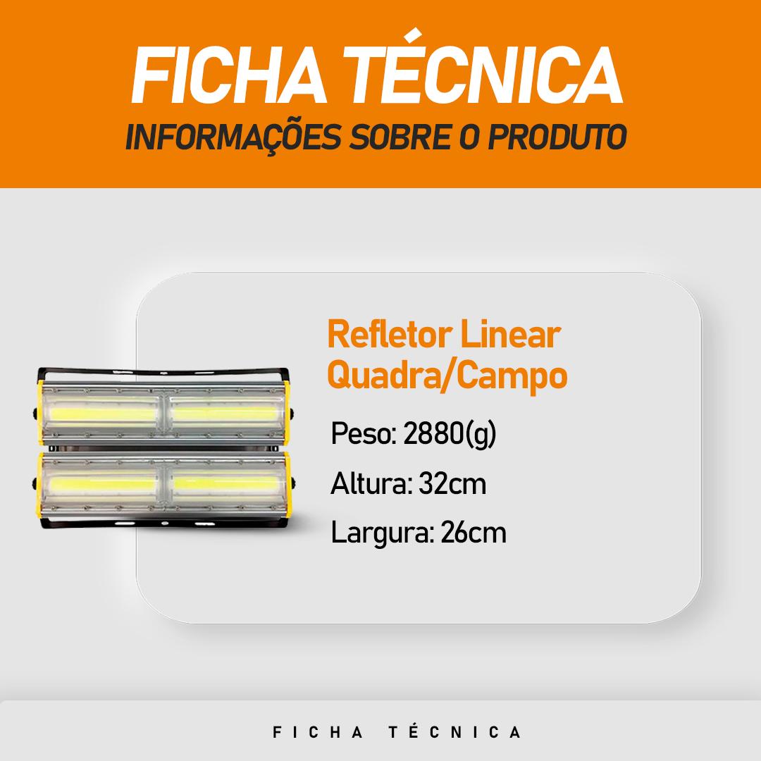 Refletor de Led Linear para Campo | Quadra 400W IP68 Flood Light Duplo Dois Módulos Direcionável Modelo 2021