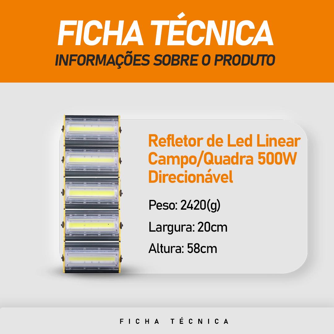 Refletor de Led Linear para Campo   Quadra 500W IP68 Flood Light - Direcionável Modelo 2021