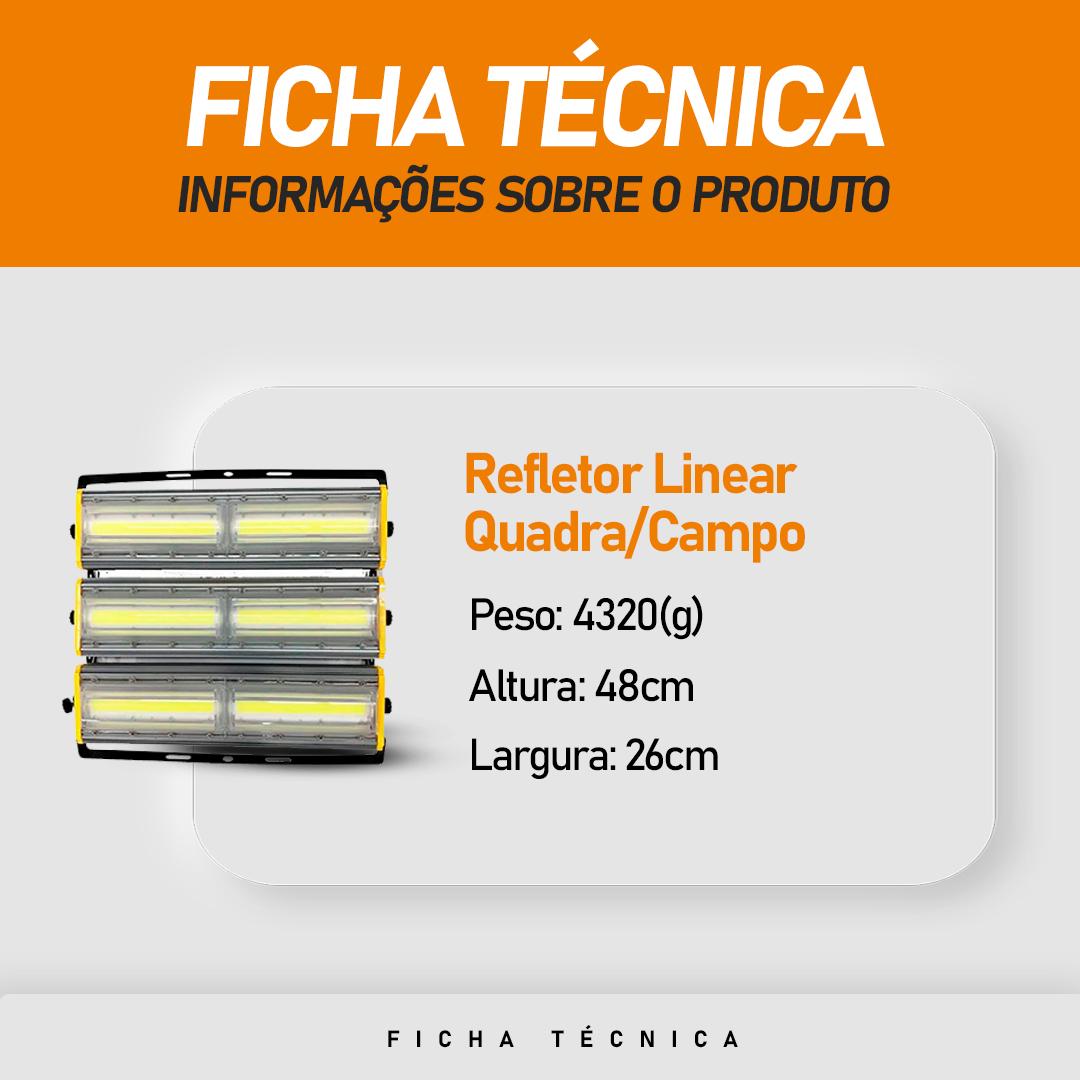 Refletor de Led Linear para Campo | Quadra 600W IP68 Flood Light  Duplo Três Módulos Direcionável N2 Modelo 2021 - GOLD