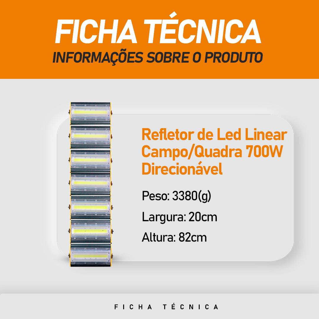 Refletor de Led Linear para Campo   Quadra 700W IP68 Flood Light - Direcionável Modelo 2021