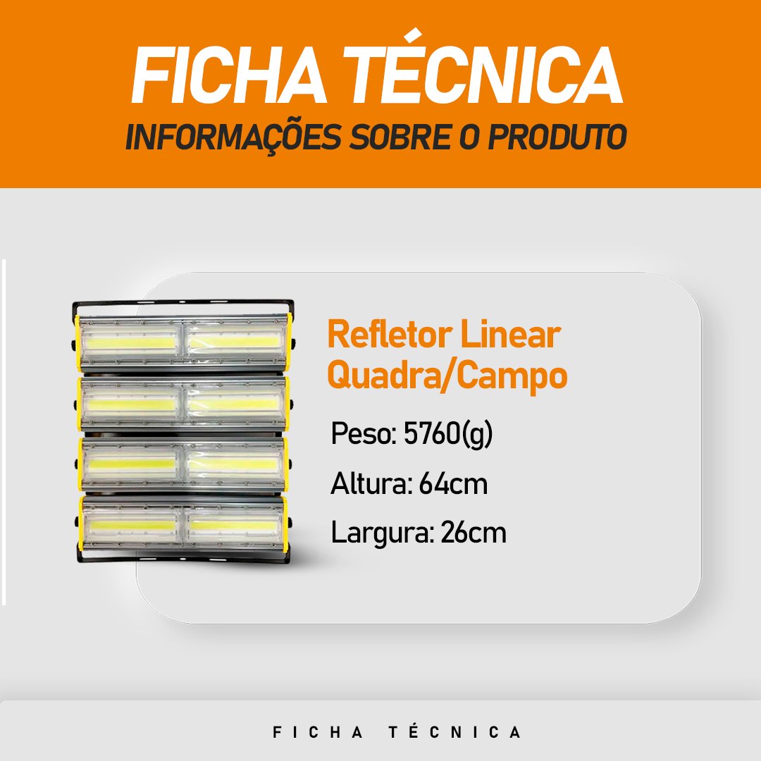 Refletor de Led Linear para Campo | Quadra 800W IP68 Flood Light Direcionável Duplo Quatro Módulos Modelo 2021