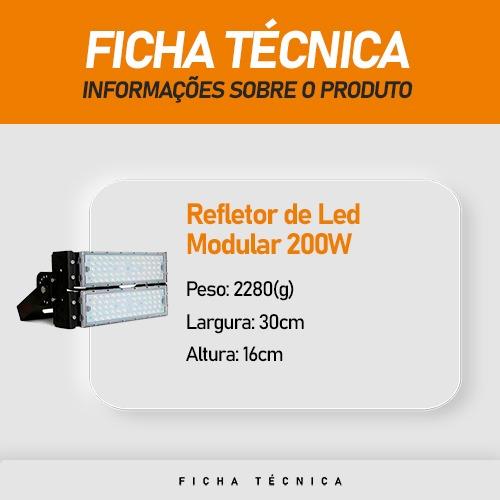 Refletor de Led Modular 200W Branco Frio 5700K IP65