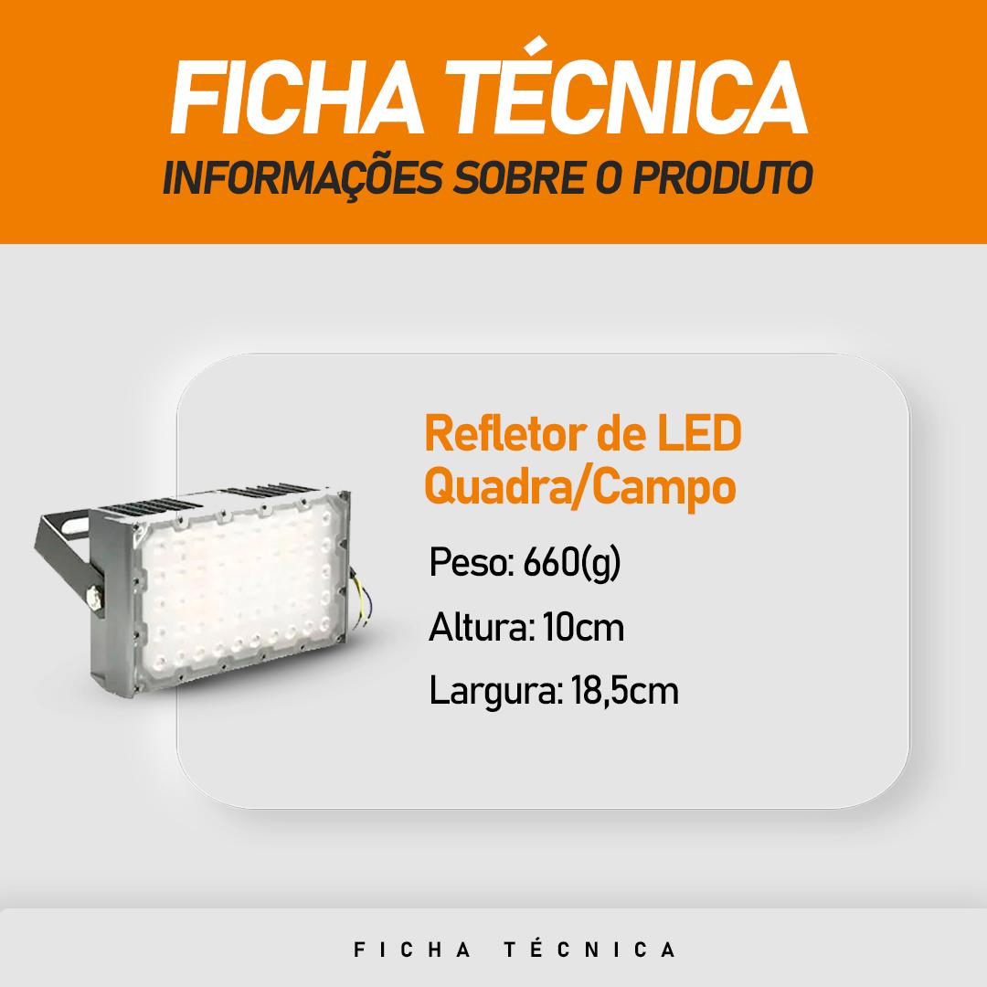 Refletor de Led para Campo   Quadra 100W IP68 Flood Light Um Módulo Number Two Modelo 2021 - GOLD