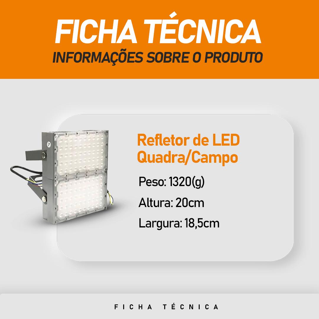 Refletor de Led para Campo   Quadra 200W IP68 Flood Light Dois Módulos Number Two Modelo 2021 - GOLD
