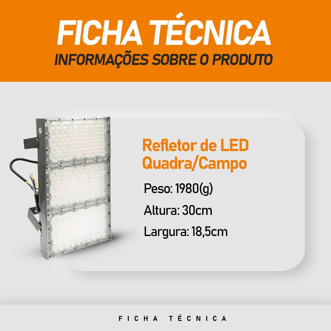 Refletor de Led para Campo | Quadra 300W IP68 Flood Light Duplo Três Módulos Number Two Modelo 2021