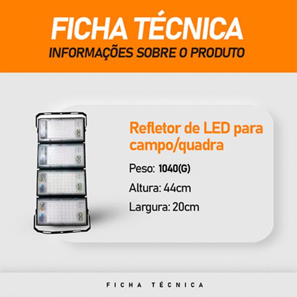 Refletor de Led para Campo   Quadra 400W IP68 Flood Light 4 Módulos  N1 Modelo 2021 - GOLD