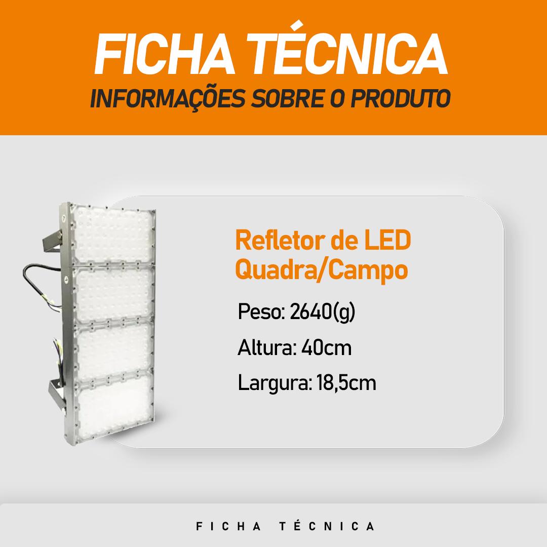 Refletor de Led para Campo | Quadra 400W IP68 Flood Light Quatro Módulos Number Two Modelo 2021