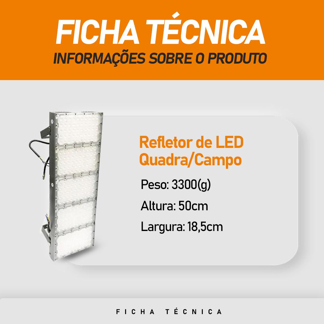 Refletor de Led para Campo | Quadra 500W IP68 Flood Light Cinco Módulos Number Two Modelo 2021