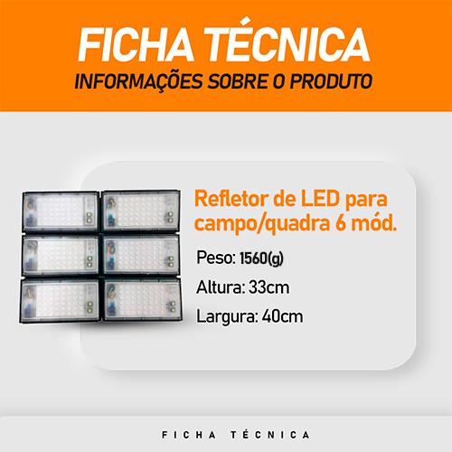 Refletor de Led para Campo   Quadra 600W IP68 Flood Light 6 Módulos Number One Modelo 2021