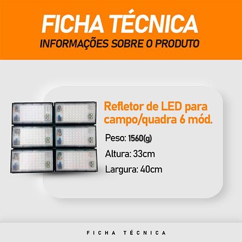 Refletor de Led para Campo | Quadra 600W IP68 Flood Light 6 Módulos Number One Modelo 2021 - GOLD