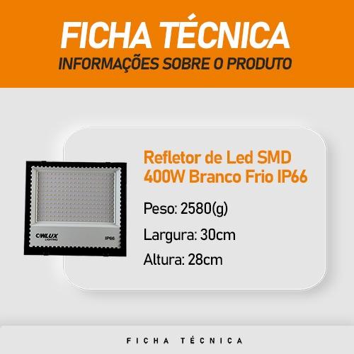 Refletor de Led SMD 400W Branco Frio IP66