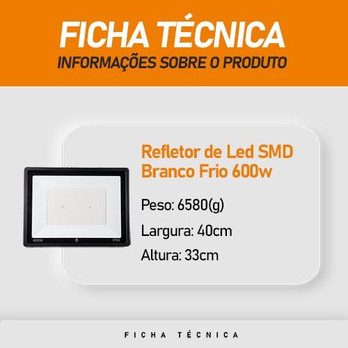 Refletor de Led SMD 600W Branco Frio IP67 - MTX