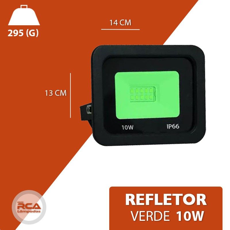 Refletor Holofote Led 10w Verde Bivolt Prova Dágua IP66