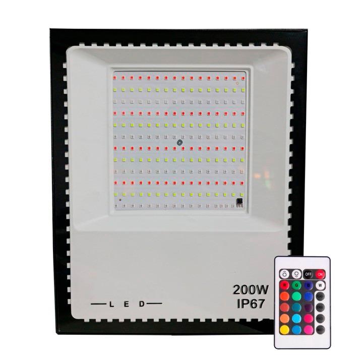 Refletor Holofote Micro Led 200W SMD RGB Colorido IP67 Bivolt
