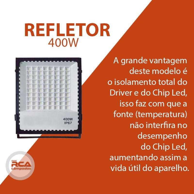 Refletor holofote MicroLED smd 400w multifocal Branco frio IP67