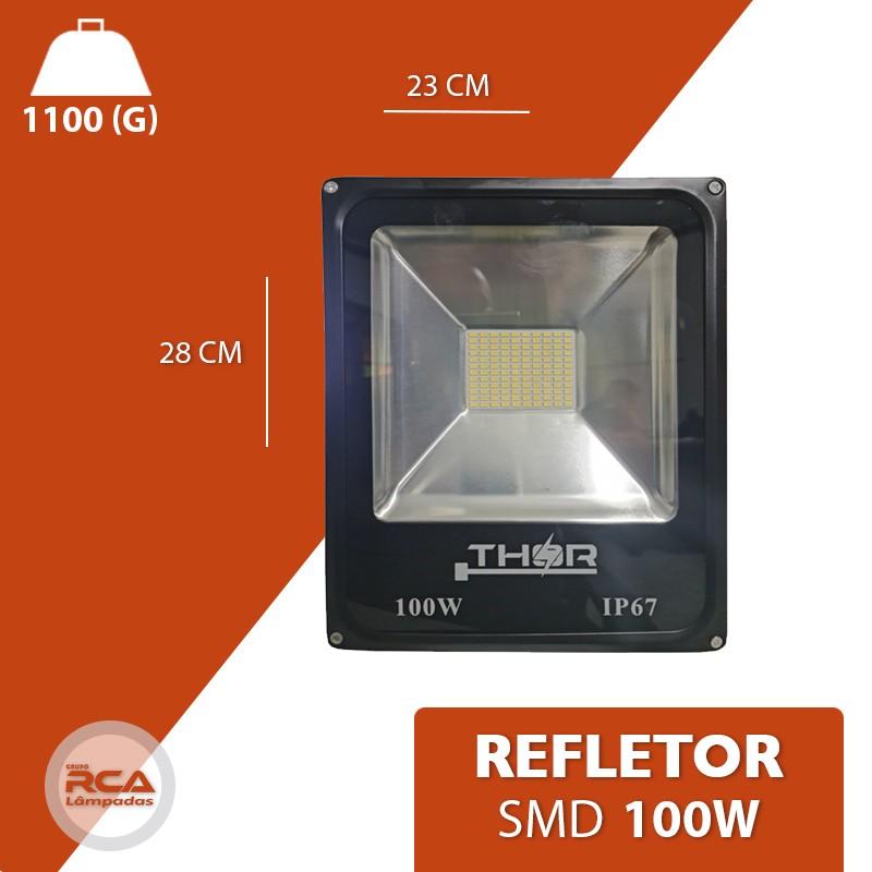 Refletor 100w Smd led 6500k Branco Frio Bivolt IP67 a prova d'água