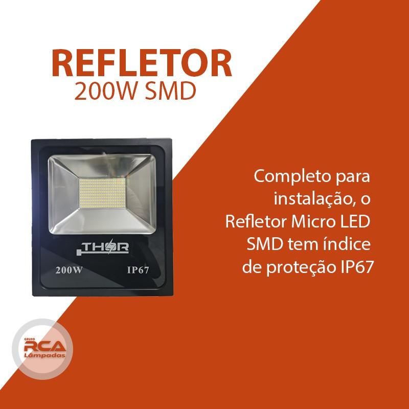 Refletor Led 200w Smd 6500k Branco Frio Bivolt IP67 a prova d'água