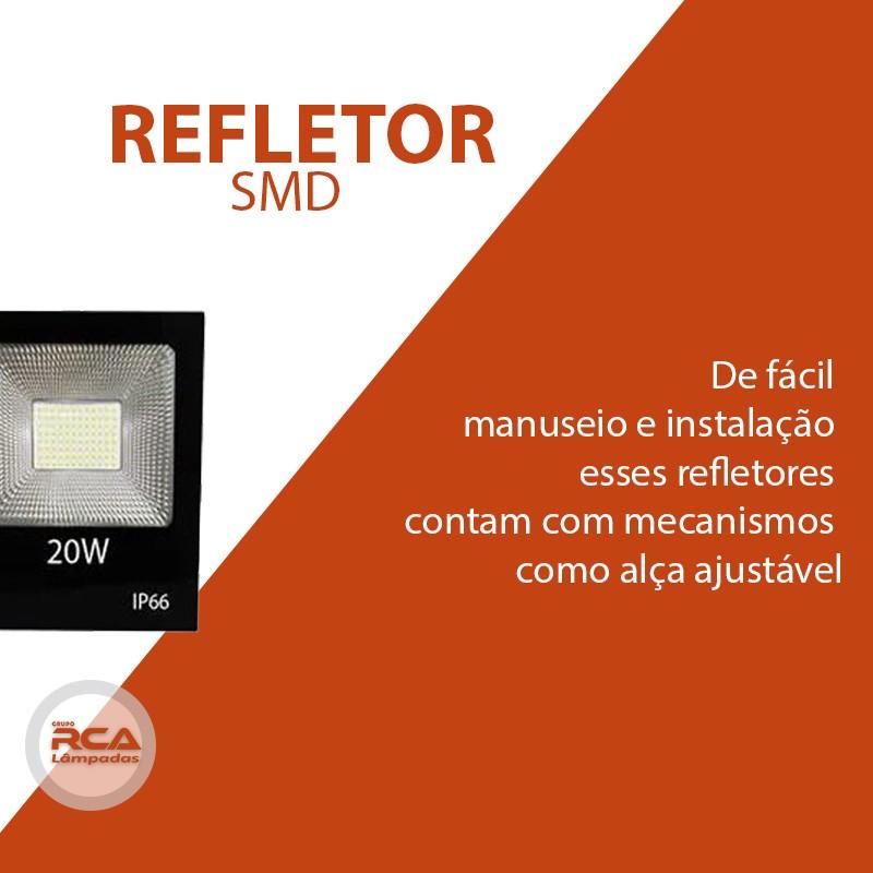 Refletor Led 20w Smd 6500k Branco Frio Bivolt Prova D'água