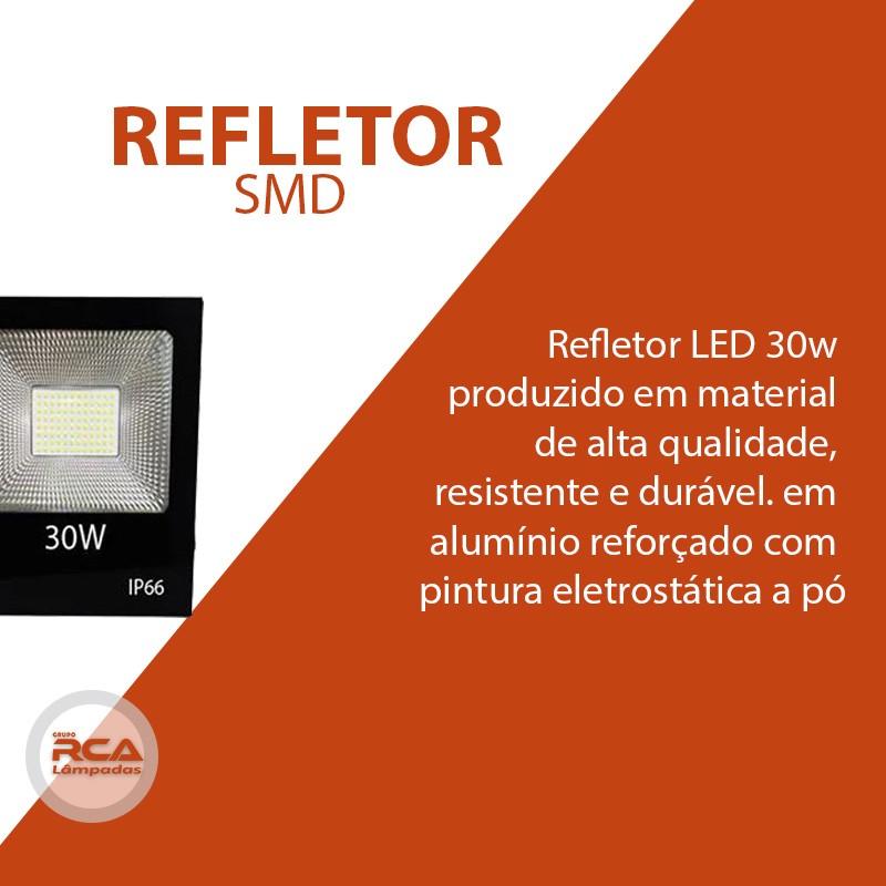 Refletor Led 30w Smd 6500k Branco Frio Bivolt Prova D'água