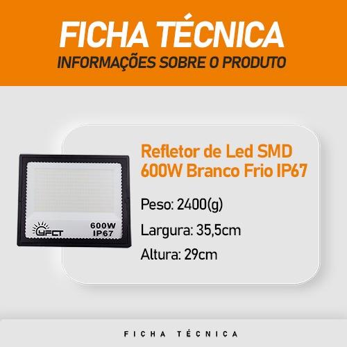 Refletor Led de Projeção SMD 600W Branco Frio IP67