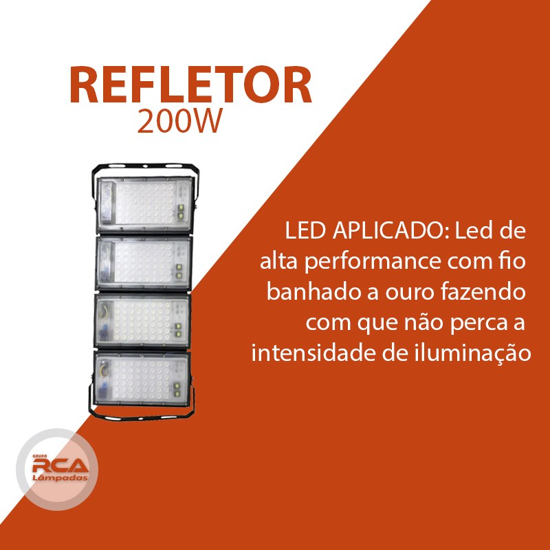 Refletor Led (GOLD) Modelo 2021 Flood light Number one 200w IP68 4 Modulos (Tecnologia Militar)