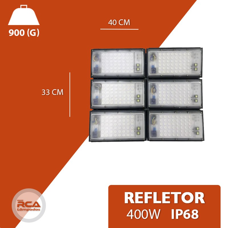 Refletor Led (GOLD) Modelo 2021 Flood light Number one 400w IP68 6 Modulos (Tecnologia Militar)