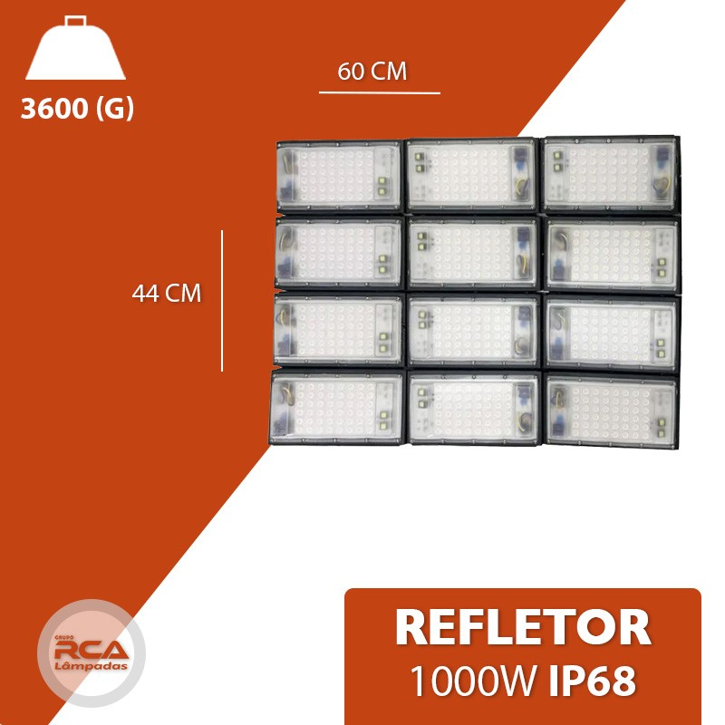 Refletor Led Modelo 2021 Flood light Number one 1000w IP68 12 Modulos (Tecnologia Militar)