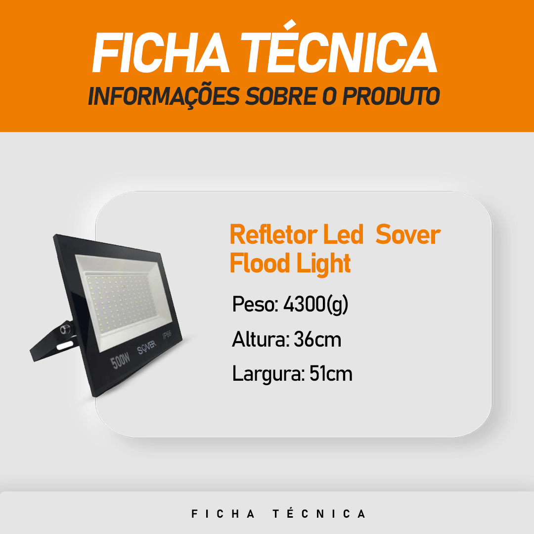 Refletor Led SMD Sover Flood Light 500W IP66