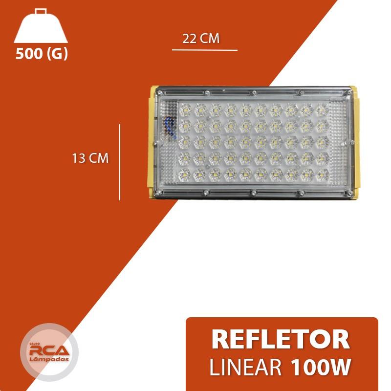 Refletor Linear Flood light Blindado 100w Um Módulo Prova D'agua - Branco Frio 6500k IP68