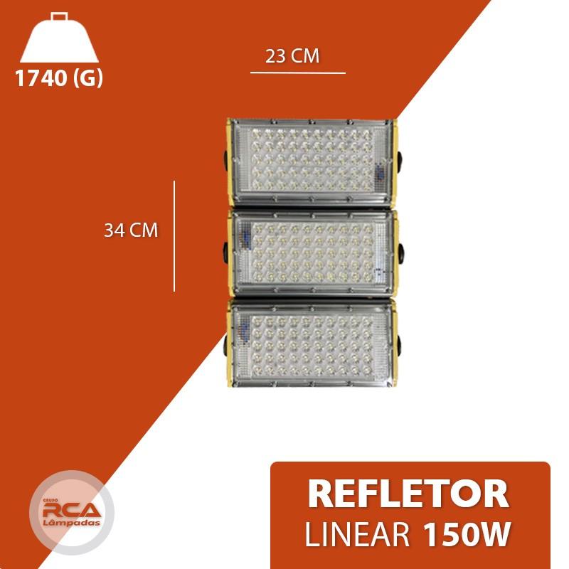 Refletor Linear Flood light Blindado 150w Três Módulos Prova D'agua - Branco Frio 6500k IP68
