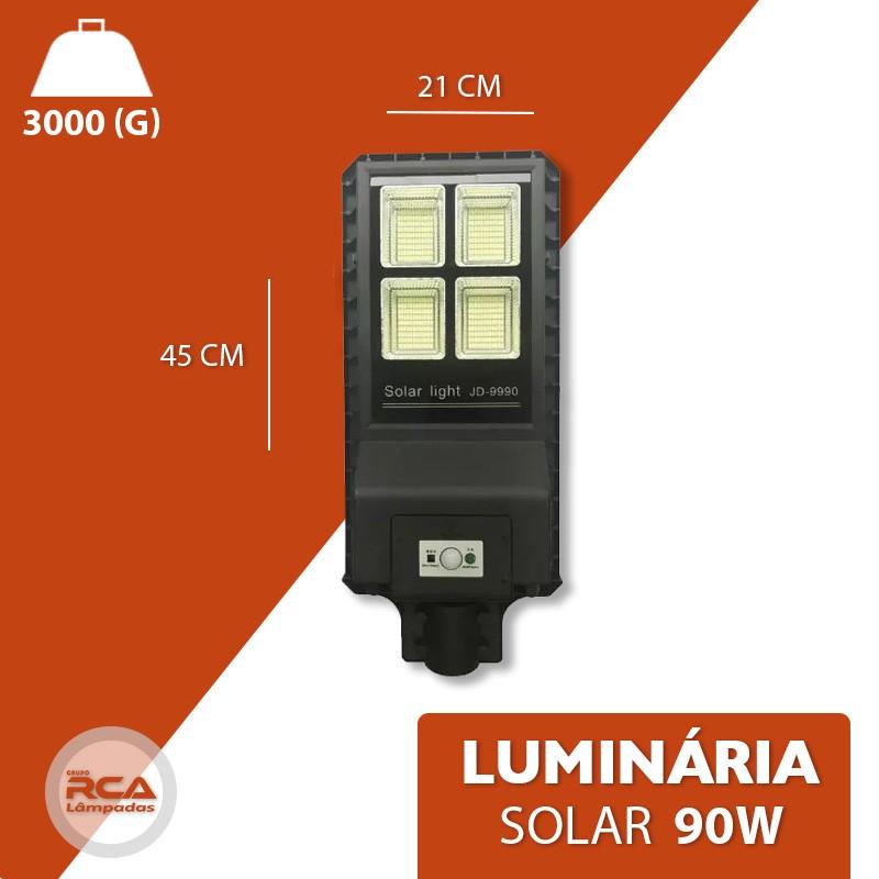 Luminária Pública Poste Solar Led 90w Com Sensor Number One