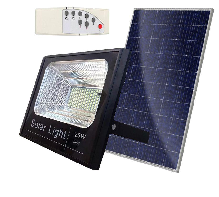 Refletor SMD Holofote Solar Ultra Led 25w Real / Com controle Remoto