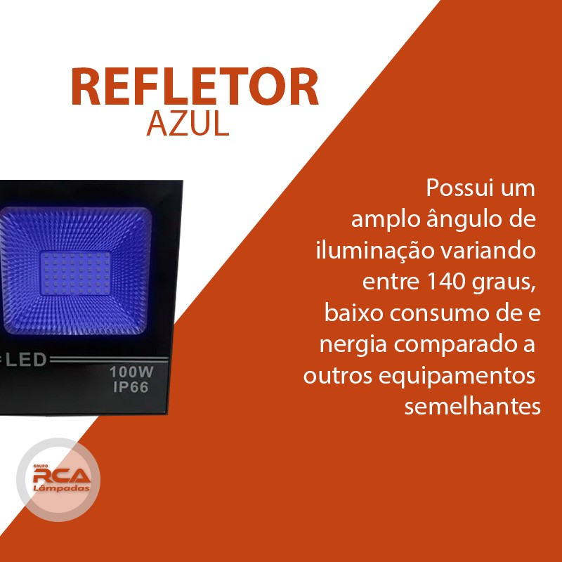 Refletor SMD Led 100w Holofote Azul Bivolt IP66