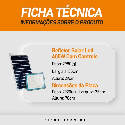 Refletor Solar Led 400W Solar Lamp IP66   com Controle Remoto
