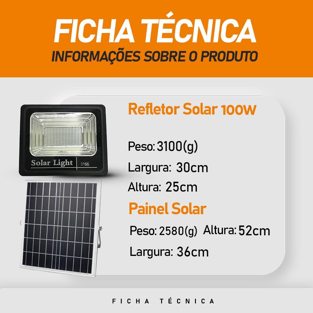 Refletor Solar Led 100W Branco Frio IP66 | com Controle Remoto
