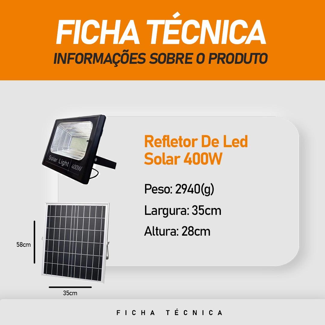 Refletor Solar Light 400W IP66 Branco Frio com Controle Remoto