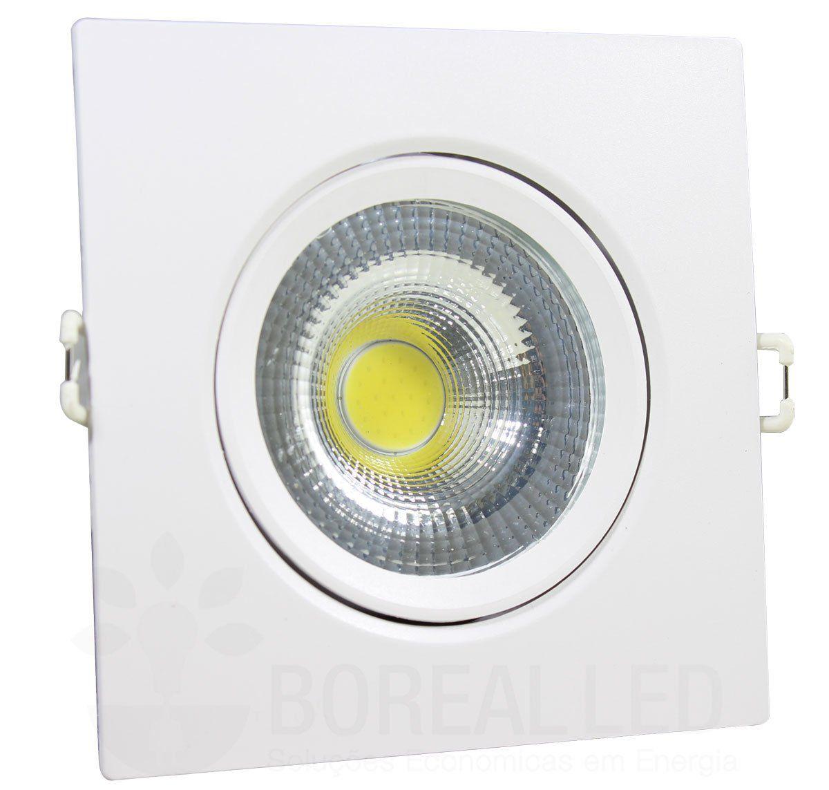 Spot LED 7w Cob Quadrado Branco Frio Embutir Direcionável Branco Frio