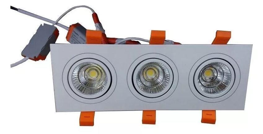 Spot Triplo  COB Led 15w  (3x5w) Embutir Direcional branco frio Nogaled Luxo