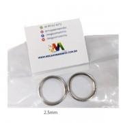Argola Prata Metal  2 unidades 2,5MM