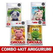 COMBO Com 4 Kit's Amigurumi Círculo (porco,unicorio,cachorro,sapo)