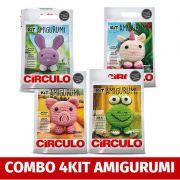 COMBO Com 4 Kit's Amigurumi Círculo (sapo,coelho,unicorio,porco)
