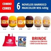 COMBO Cores Barroco MaxColor - 6 novelos de Barroco MaxColor N.6 400g