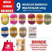 COMBO Cores Barroco Multicolor - 9 novelos de Barroco Multicolor 400g + DVD Crochê Simone Eleotério