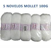 Fio Mollet 100g pacote com 5nv cor 010(branca)