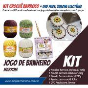 KIT Crochê Barroco com Simone Eleotério - Jogo de Banheiro Marrom